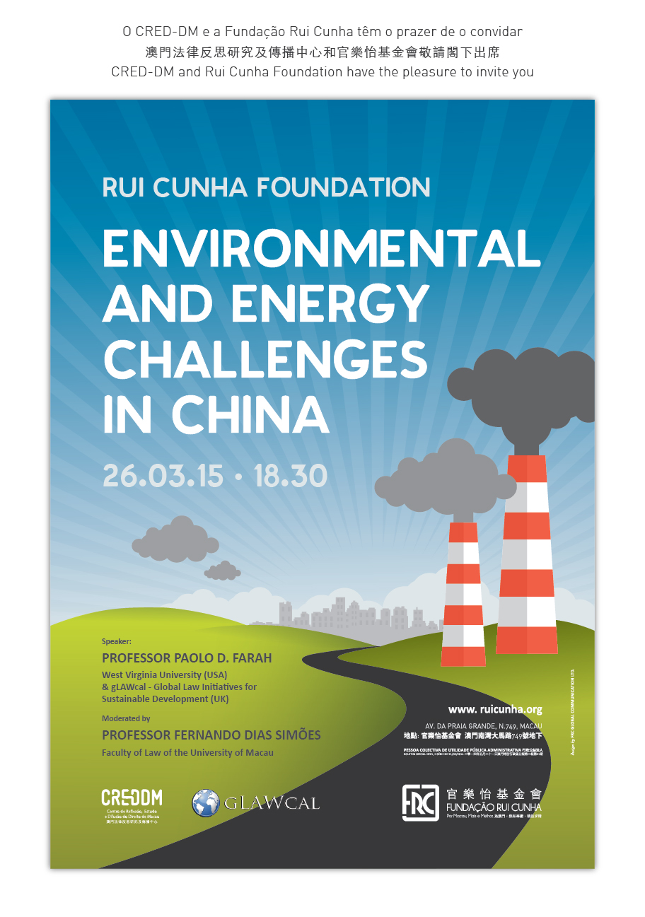 "Paolo Davide Farah Environmental and Energy Challenges in  China"", Fundação Rui Cunha, Macao, China, March 26, 2015-1"
